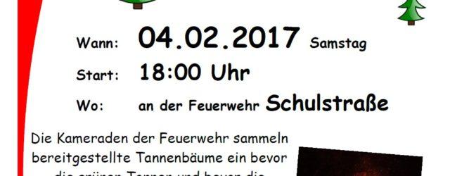 Auch in diesem Jahr veranstalten wir 04.02. auf dem Sportplatz hinterm Gerätehaus in der Schulstraße unser Tannenbaumverbrennen. Am kommenden Montag, 09.01. ,sammeln die Kameraden ab […]
